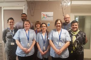 Leigha Edmundson, Mohammed Zafran, Freda Childs,Sean Mitchell, Kelly Livesey with successful work trial job starters Karen Griffiths, Jade Cole and Karen Bradshaw at the Key2Support event
