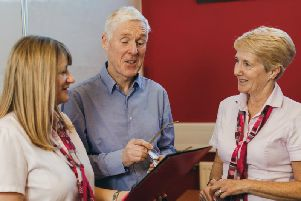 Marsden Building Society Head of Lending Steve Robinson with colleagues Elsa Parker and Janis Crawford (right).
