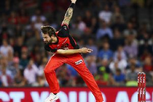 Kane Richardson in action during the Big Bash League match between the Melbourne Renegades and Sydney Thunder. (Photo by Michael Dodge/Getty Images)