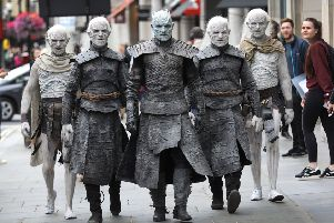 LONDON, ENGLAND - JULY 11:  The Night King and White Walkers march through Oxford Circus to promote the forthcoming Game Of Thrones Season 7 on July 11, 2017 in London, England.  The new season airs at 9pm on July 17th on Sky Atlantic.  (Photo by Tim P. Whitby/Tim P. Whitby/Getty Images)