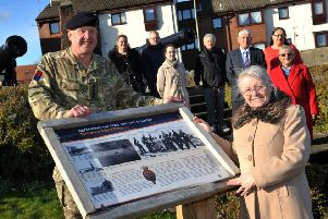 James Swanson-Stobbs' widow Cathy Stobbs with Cpt James Foster, Coun Fay Cunningham, Coun John Anglin and Coun Angela Hamilton at the story board