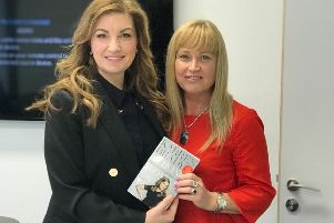 Entrepreneur Karren Brady with Blackpool businesswoman Coral Horn at West Ham Utd's stadium in London