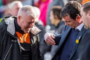 Terry McPhillips and Gary Bowyer before kick-off