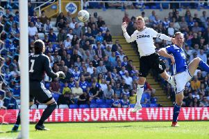 Richard Keogh heads home Derby's second goal.