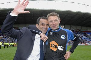 Graeme Jones, right, pictured with Roberto Martinez during their time at Wigan. Jones will take over as Luton boss next week.