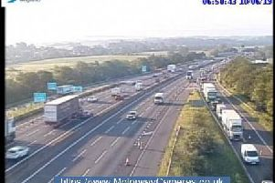 Scene at junction 13 of the M6  northbound this morning.