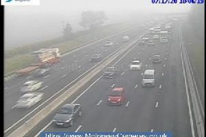 M16 junction 19 southbound this morning.
