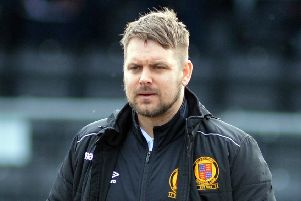 Belper town v Stocksbridge Park Steels. Saturday 9th March. Belper Town manager Grant Black.