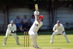 Duffield batsman Trevor Keen on his way to an excellent knock of 75 against Langley Mill United. (PHOTO BY: Brian Eyre).