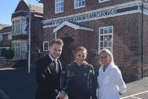 Katie Weller with mum Vicky and Jack Hollowell of D Hollowell and Sons Funeral Directors
