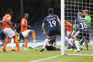 Nathan Delfouneso scores his second goal at Southend United