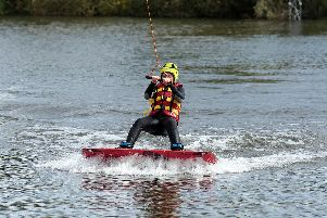 Emma Foxlow, 13, from Long Eaton, tries out wakeboarding for the first time.