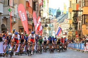 Top cyclists riding on the streets of the city centre in Innsbruck in Austria in the 2018 UCI Road World Championships. (Picture by Bruce Rollinson)
