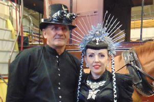 Steampunk pair at Crich Tramway Village