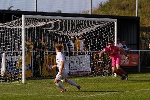 Charlie Dawes makes it 2-0 to Belper. Pic by Tim Harrison.