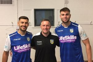 Frickley Athletic's new signings, Jonny Margetts and Tom Clare, with manager David Frecklington.