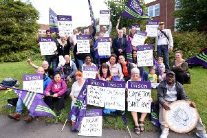 Blackpool Victoria Hospital workers on the picket line.