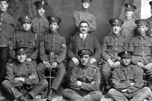 Maurice Comer with his regiment is pictured far right on the middle row. Picture courtesy of WWTT