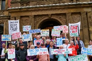 Campaigners gathered outside the town hall