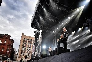 Busted performing at this year's switch on in Blackpool.