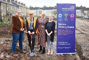 Susanne Horsley, service manager, Mayor of Pendle, Coun. Ken Hartley, Paula Spence, performance and quality manager, Making Space and Gemma Shepherd, director of development, Making Space