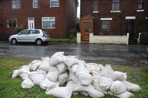 Sandbags stockpiled by Wyre Council during floods in 2012