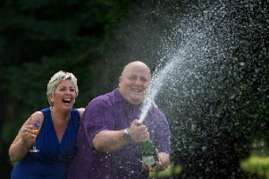 British Euro Millions winners Adrian and Gillian Bayford after winning 148,665,000 in 2012