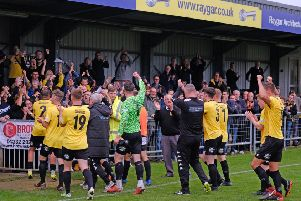 Belper's players applaud the crowd on Saturday. Pic by Tim Harrison.