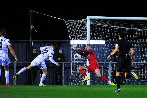 Goalkeeper Sam Hornby is called into action on his Fylde debut  Picture: STEVE MCLELLAN