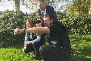 CLA North rural adviser Libby Bateman, Lancashire's Police and Crime commisioner Clive Grunshaw and PC Craig McCabe test out the infrared scopes equipment