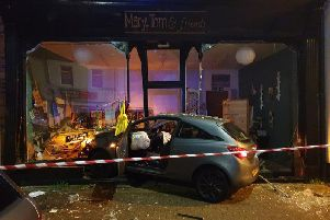 The scene after the car ploughed into  the Mary, Tom and Friends gift shop in Fleetwood.