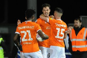 Ben Heneghan celebrates his equalising goal against Wycombe last night