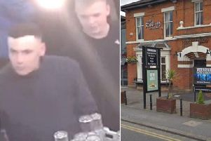 Two men have been identified in connection with an assault outside The Railway pub in Preston Road, Leyland on September 28. Pics: Lancs Police and Google Maps