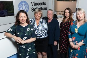 Promotions at Vincents Solicitors. Pictured left to right, Lisa Lodge, Branch Development Director, with Administration Manager Gail Waterhouse, Head of Conveyancing June Caunce, Chief Cashier Melanie Coupe and Gail Maudsley, Lead Receptionist.