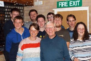Geoff Ellis, pictured centre front, is celebrating 50 years at Dove Holes Youth Club.