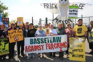 Fracking rally at the site of a exploratory drilling site at Tinker Lane near Worksop.