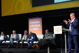 Speaking at the Convention of the North at Magna Centre, Rotherham, is Barry White, of Transport for the North