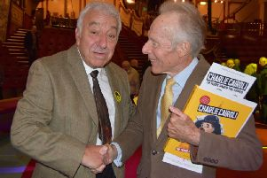 Charlie Cairoli Jr  (left) at the launch of the new book,  'Charlie Cairoli- 39 years under the Tower'.He is pictured with Brian Somerville, the son of former Tower white face clown Paul King , who has a copy of the book. Photo: Juliette W Gregson.