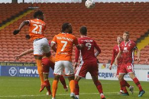 Armand Gnanduillet headed Blackpool's second goal of the afternoon