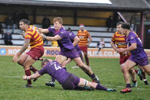 David Fairbrother on the charge for Fylde against Loughborough Students