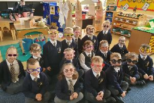 Anchorsholme Academy's reception class take part in crazy glasses day to raise money for Retinoblastoma.