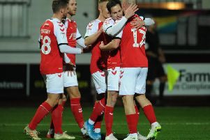 Fleetwood celebrate their second goal by Josh Morris in the 5-2 rout of Oldham