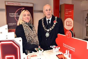 Franchise owner, Rachael Beddow-Davison, with the Mayor of Gainsborough, Coun Keith Panter