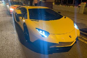 A Lamborghini driver was fined 100 after being stopped in Blackpool police, who alleged it did not have a front number plate fitted (Picture: Lancashire Road Police)