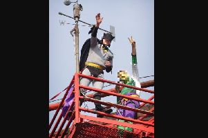 Fathers 4 Justice during a superhero protest at the top of Blackpool Pleasure Beach's Big One rollercoaster in 2004. There is no suggestion Vaghela was involved (Picture: Mark Pearson/JPIMedia)