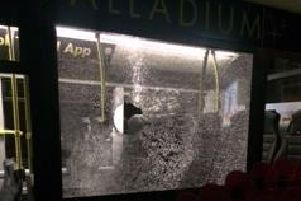 Vandals smashed a bus window as it was travelling along Caunce Street, Blackpool on Saturday (November 16). Pic: Blackpool Transport