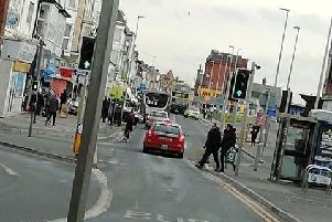 The collision happened outside the National Express coach facility in Central Drive, Blackpool