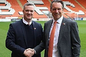 New Blackpool chief executive Ben Mansford with owner Simon Sdler