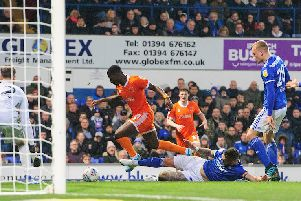 Sullay Kaikai is brought down by Luke Chambers for Blackpool's penalty, which was dispatched by Jay Spearing
