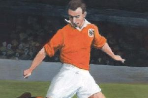 A painting of Sir Stanley Matthews performing for Blackpool at Bloomfield Road in 1949